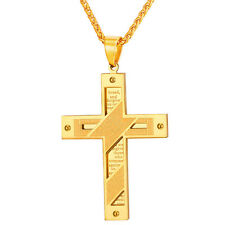 Classic 316L Stainless Steel Cross Pendant Mens Necklace 18K Gold Plated Jewelry