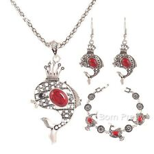 1 Set Women Fish Sliver Turquoise Necklaces Earrings Bracelets Jewelry