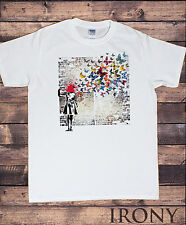 Mens White T-shirt-Banksy Headshot Butterfly  Wall Street Art Graffiti TSC6
