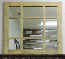 Rustic Reclaimed Barn Wood 9-Pane Cottage Window Mirror Home Decor Mirror 27x27