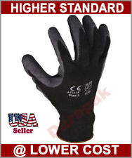 48 Pairs Polyester Work Gloves Black Latex Coating S,M,L,XL Industrial Warehouse