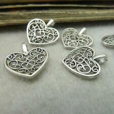 50pcs Tibet Silver Antique Hollow Heart Charms Pendants Beads Jewelry Crafts DIY