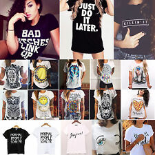 Summer Womens Short Sleeve Letter Print T Shirt Casual Tops Loose Graphic Blouse