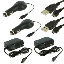 2X Retractable Micro USB Car Charger+2X Travel Charger+2X Cables for Phones