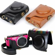 2 Color PU Leather Camera Protector Case Bag Cover Skin + Strap For Casio ZR1000