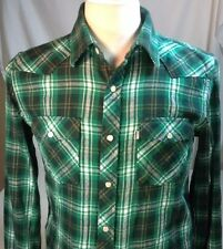 Levis Western Shirt Medium Barstow Modern Fit Pearl Snap Plaid Green
