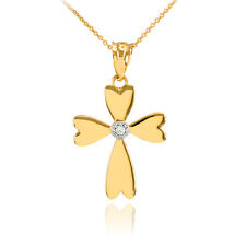 14k Yellow Gold Solitaire Diamond Heart Cross Charm Pendant Necklace