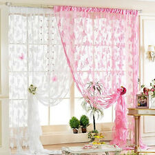 1Pc Home Art Decoration Thin Voile Embroidered Butterfly Tassel Window Curtain
