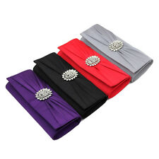 Elegant Pleated Satin Crystal Medallion Center Clutch Evening Bag - Diff Colors