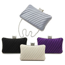 Elegant Pleated Satin Hard Clutch Rhinestones Top Evening Bag - Diff Colors