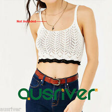New Women's Spaghetti Strap Knitted Tank Top Casual Hollow Out Cami White/Red