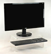 Ergonomic Acrylic Monitor Stand Screen Riser With Keyboard Tray / Paper Storage
