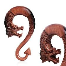 Pair of Ebony Wood Dragon Ornamental Hanging Taper with Arrow Tail E114