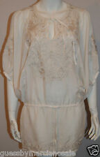 GUESS by MARCIANO Morgana Embroidered Tunic Sheer Cover Up White Size S