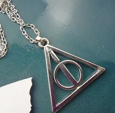 Harry potter Vintage Deathly Hallows Triangle Circle Pendant Chain Necklace