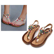 Flat Sandals Ankle T-strap Fashion Trend Sandals Bohemia Flat Heel Beaded HY