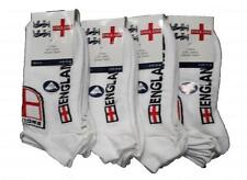 6 x Men's England Shield White Trainer Liners Cotton Rich Ankle Socks