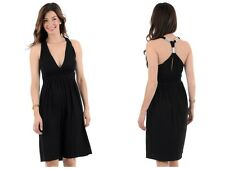 WOMENS LADIES SMART BLACK DIAMANTE EVENING SUMMER PARTY FORMAL  DRESS H8