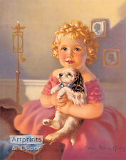 Bedtime for puppy by Mabel Rollins Harris (Art Print of Vintage Art)
