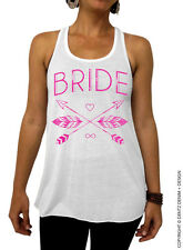 Bride - Feathers and Arrows Bridal Collection -White/Pink Flowy Tank Top
