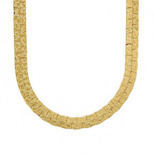 Men's 7mm Wide Flat Two Track 14K Yellow Gold-Overlay Nugget Link Chain