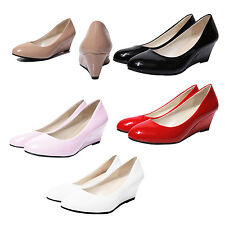 New Women Wedges Shoes Pointed Toe Patent Leather Nude Work Shoes Casual HY