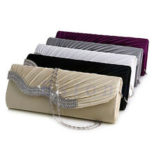 Satin Pleated Rhinestone Evening Handbag Wedding Bridal Party Clutch Purse New