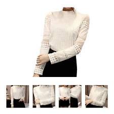 Hot Women Long Hollow Splicing Shirt Lace Sleeve OL Tops Round Collar Blouse HY