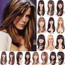 Natural Long Curly Wavy Full Head Wigs Cosplay Party Fancy Dress Silky Brown B61