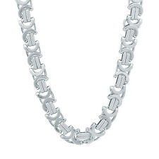 Men's 9mm Rhodium Plated Square Layered Byzantine Link Chain
