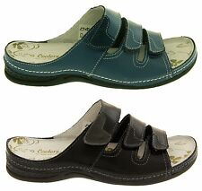 Womens Leather Velcro Sandals Ladies COOLERS Flat Comfy Shoes Sz Size 4 5 6 7 8
