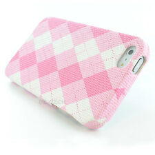 Pink White Argyle Fabric Hard Case Cover for Apple iPhone 5 5G 6TH GEN Accessory