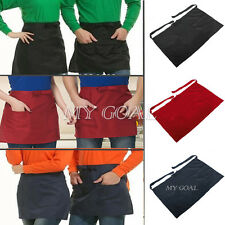 Half Short Waist Apron With Pocket Waiter Waitress Kitchen Cafe Pub Barista Bar