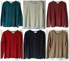 NEW LADIES SIZES 12-18 CREW NECK BUTTON UP SOFT 100% ACRYLIC PATTERNED CARDIGAN
