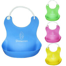Cute Baby Soft Silicone Bib Waterproof Saliva Dripping Kid Infant Lunch Bibs New