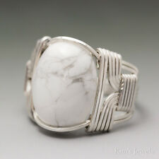 White Howlite Sterling Silver Wire Wrapped Cabochon Ring