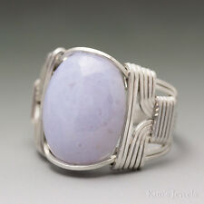 Blue Lace Agate Sterling Silver Wire Wrapped Gemstone Cabochon Ring -Ships Fast!