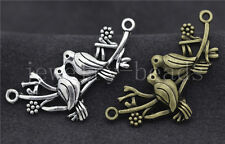 5/20/100pcs Antique Silver Lovely double Birds Jewelry Charms Connectors 45x21mm