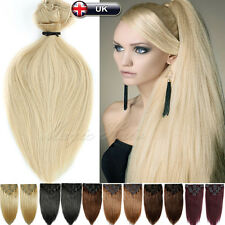 UK 160g Deluxe Clip In Thick Remy 100% Real Human Hair Extensions Full Head U042
