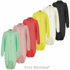 Ladies Womens Longline Oversized Shirt Blouse Batwing Buttoned High Low Dress