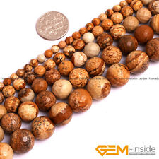 "Natural Picture Jasper Gemstone Faceted Round Beads 15"" 4mm 6mm 8mm 10mm 12mm"