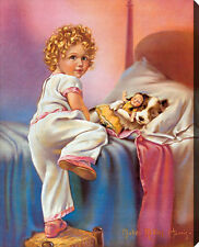 Bedtime by Mabel Rollins Harris (Stretched Canvas Print of Vintage Art)