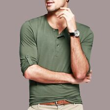 12 Colors Mens Henley T-shirt Simple Long Sleeve Solid Fitted Basic Tee M-XXL