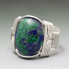 Azurite Sterling Silver Wire Wrapped Cabochon Ring