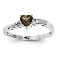 Sterling Silver Smoky Quartz Diamond Ring