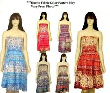 WHOLESALE DRESS LOT OF 12 SMOCKED TOP TUBE SUN WEAR DRESS M - XL ASSORTED COLORS