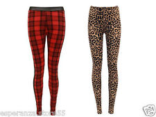 NEW WOMEN LADIES FULL LENGTH LEGGINGS TARTAN LEOPARD LEGGINGS STRETCHY PANTS