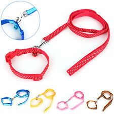 Pet Dog Puppy Cat Nylon Polka Dot Collar Walking Leash Traction Rope w/ Bell Set