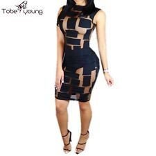 Quality Womens Hot Sexy See Through Mesh Bodycon Eve Cocktail Club Party Dress
