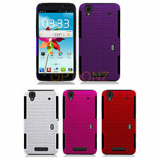 For ZTE MAX N9520 Hybrid APEX Net Mesh Case Skin Silicone Cover + Screen